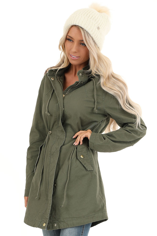 Olive Hooded Coat with Cinch Waist and Gold Details front close up