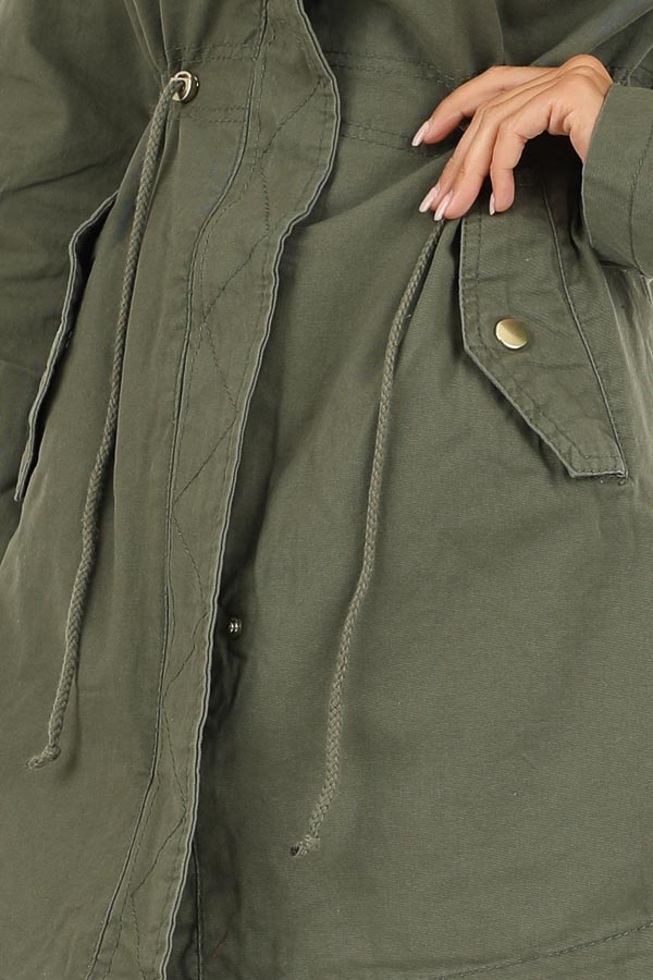 Olive Hooded Coat with Cinch Waist and Gold Details detail