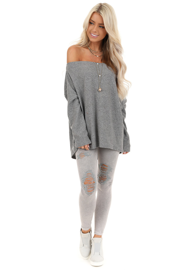 Thunderstorm Grey Off Shoulder Long Sleeve Knit Top front full body