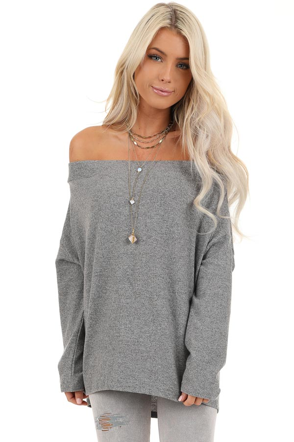 Thunderstorm Grey Off Shoulder Long Sleeve Knit Top front close up