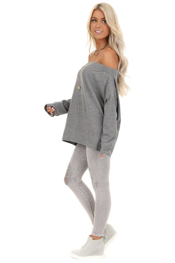 Thunderstorm Grey Off Shoulder Long Sleeve Knit Top side full body