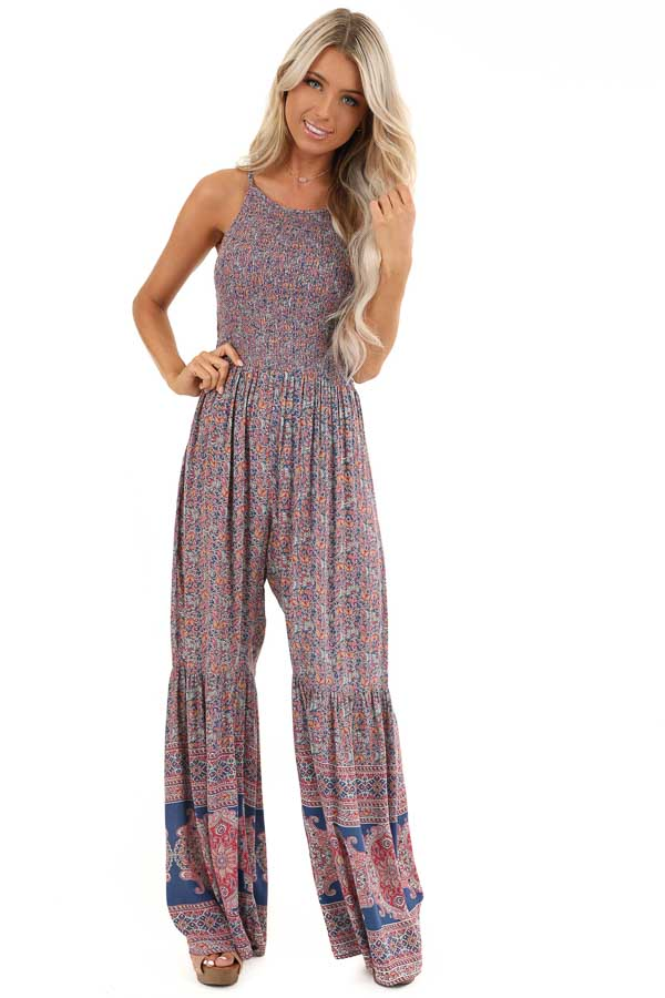Blue and Magenta Paisley Spaghetti Strap Jumpsuit front full body