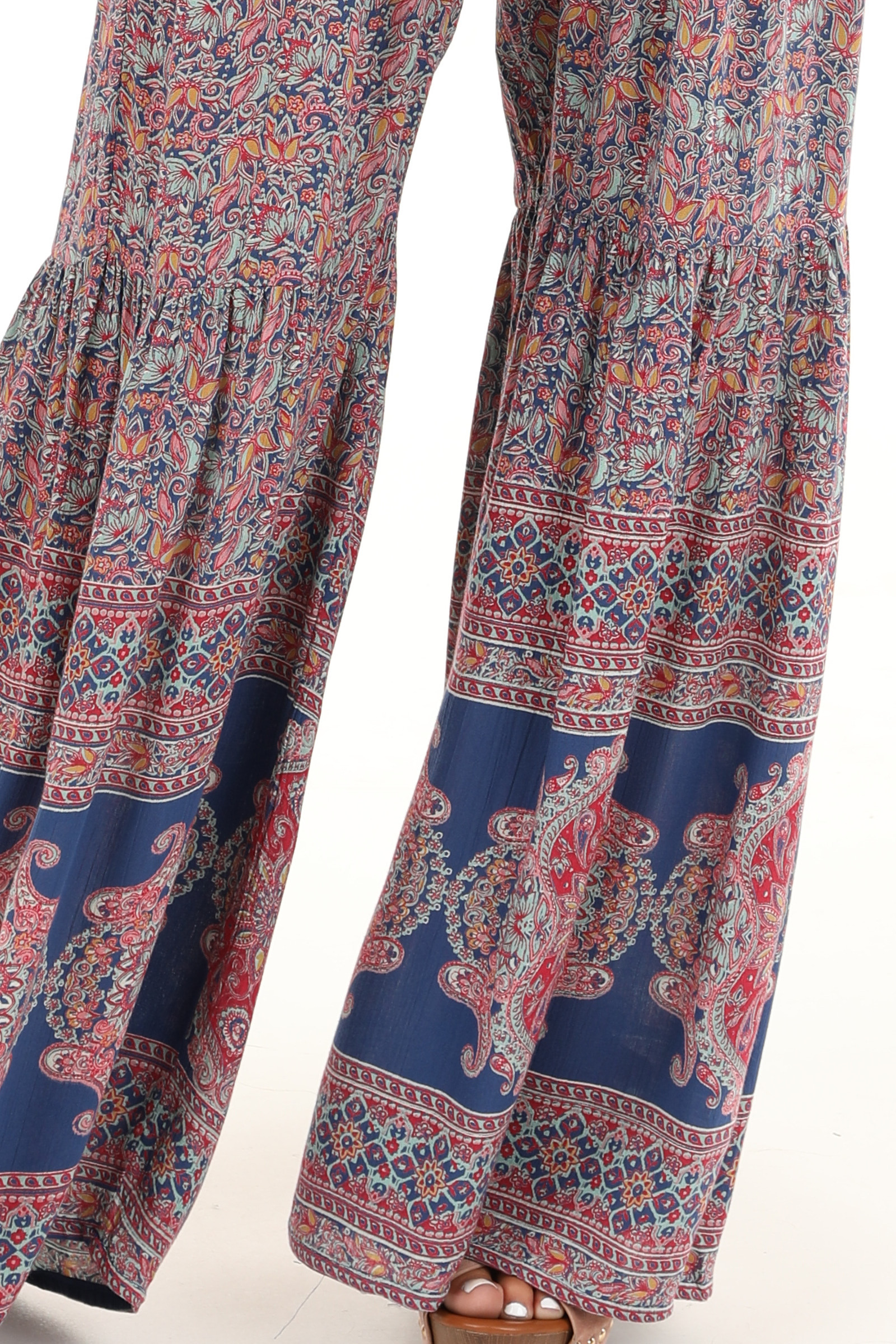 Blue and Magenta Paisley Spaghetti Strap Jumpsuit detail