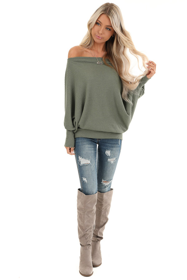 Army Green Off Shoulder Batwing Sleeve Waffle Knit Top front full body