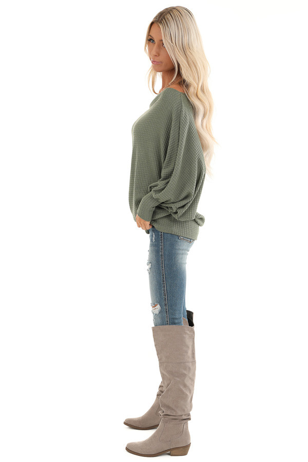 Army Green Off Shoulder Batwing Sleeve Waffle Knit Top side full body