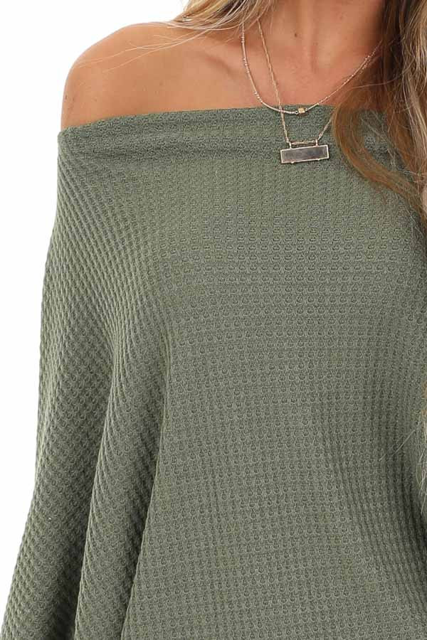 Army Green Off Shoulder Batwing Sleeve Waffle Knit Top detail