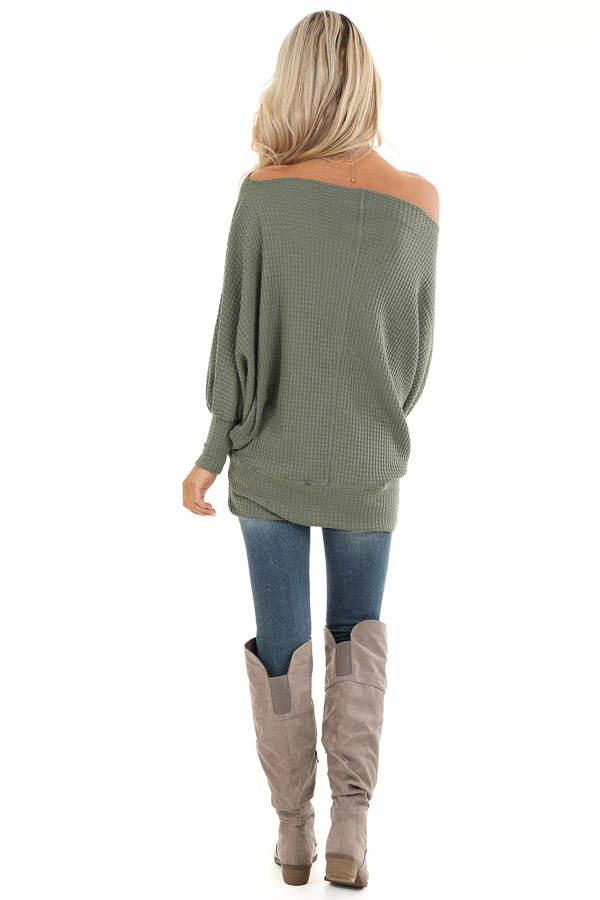 Army Green Off Shoulder Batwing Sleeve Waffle Knit Top back full body