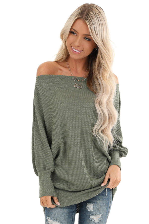 Army Green Off Shoulder Batwing Sleeve Waffle Knit Top front close up