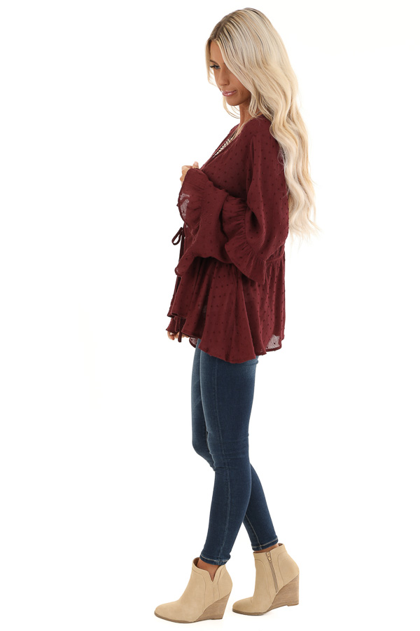 Deep Plum Front Tie Cardigan with Swiss Dot Detail side full body