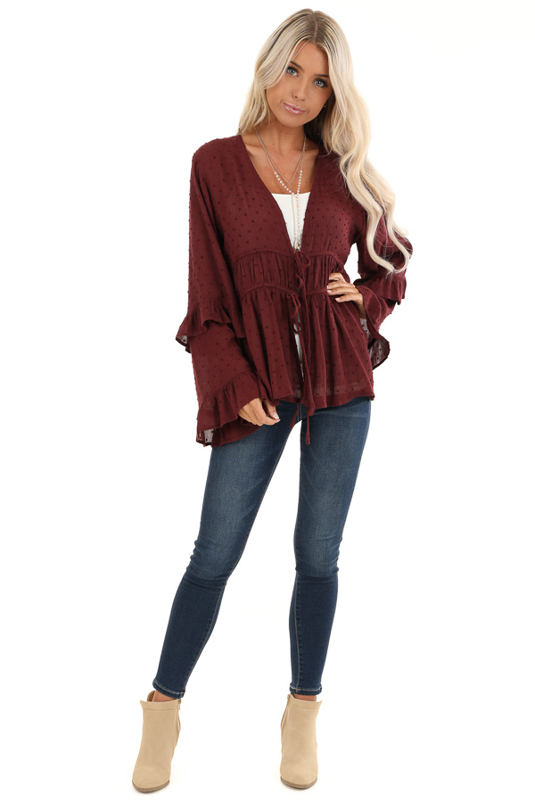 Deep Plum Front Tie Cardigan with Swiss Dot Detail front full body