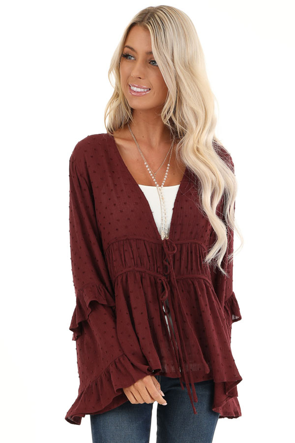 Deep Plum Front Tie Cardigan with Swiss Dot Detail front close up