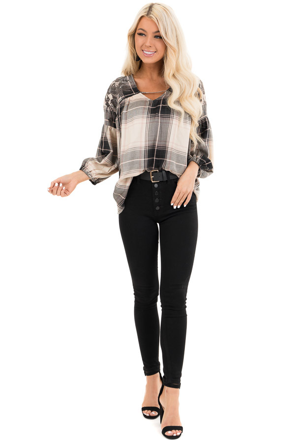 Blush and Black Plaid Top with Poet Sleeves and Embroidery front full body