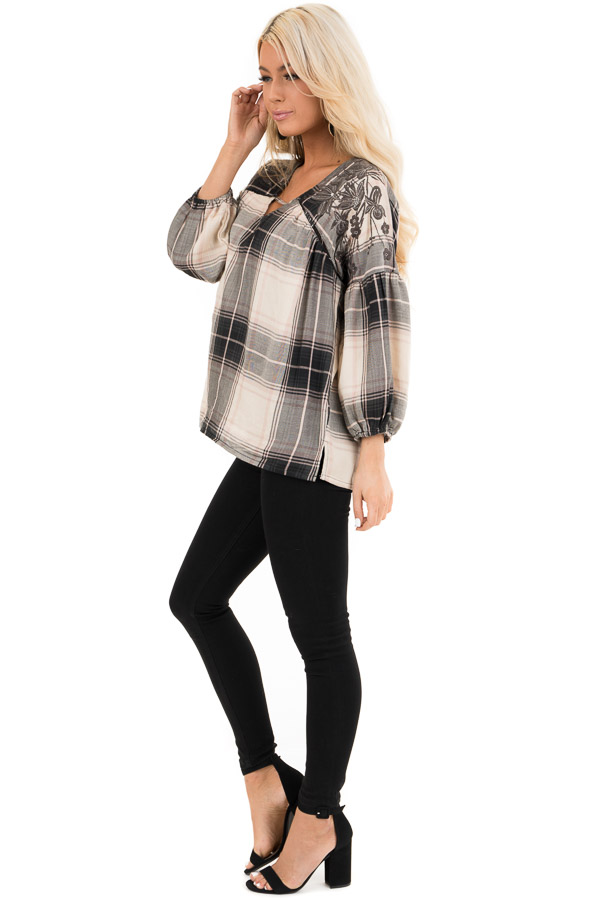 Blush and Black Plaid Top with Poet Sleeves and Embroidery side full body
