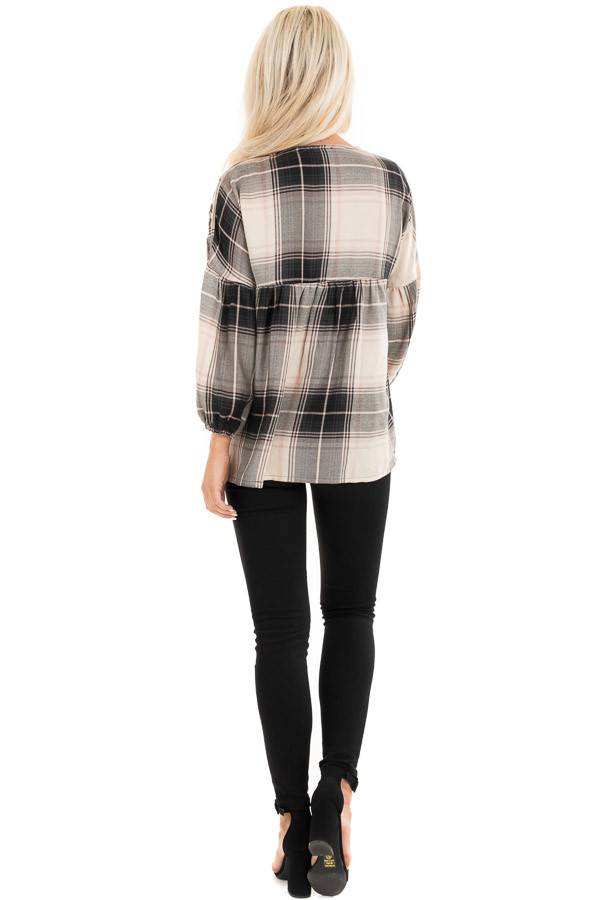Blush and Black Plaid Top with Poet Sleeves and Embroidery back full body