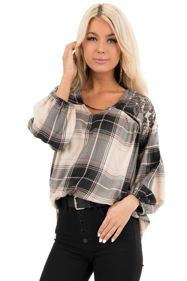 Blush and Black Plaid Top with Poet Sleeves and Embroidery front close up