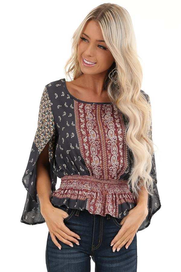 Navy and Rust Paisley Print 3/4 Sleeve Smocked Top front close up