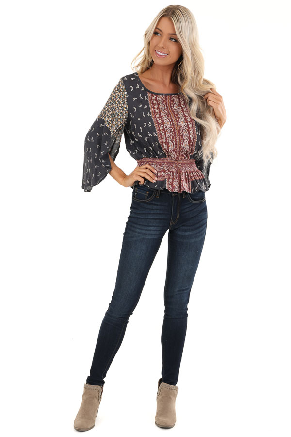Navy and Rust Paisley Print 3/4 Sleeve Smocked Top front full body