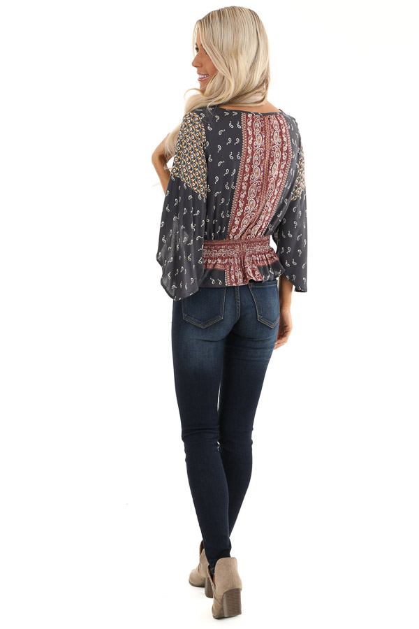Navy and Rust Paisley Print 3/4 Sleeve Smocked Top back full body