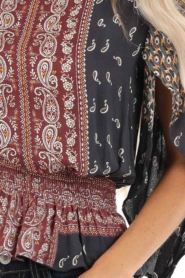 Navy and Rust Paisley Print 3/4 Sleeve Smocked Top detail