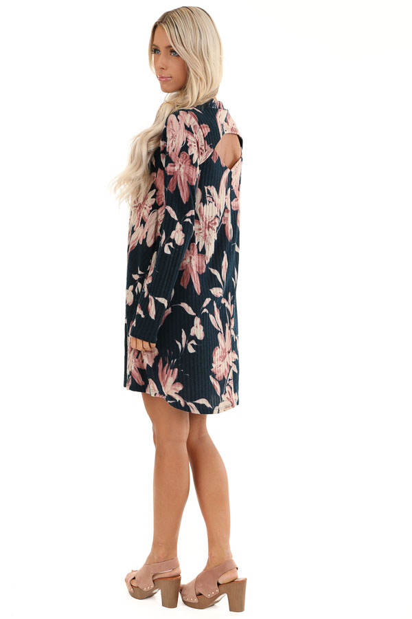 Navy Floral Print Ribbed Mini Dress with Back Cutout side full body