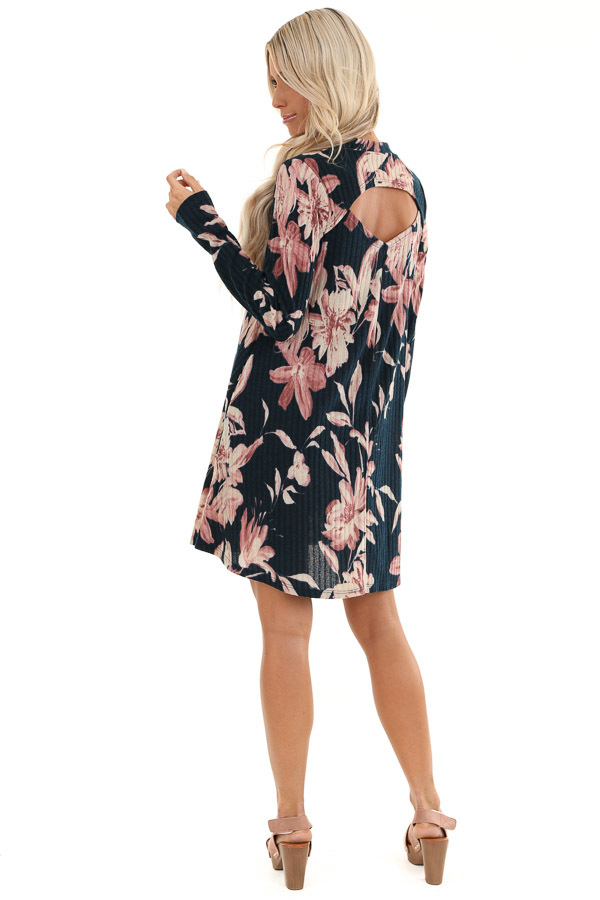 Navy Floral Print Ribbed Mini Dress with Back Cutout back full body