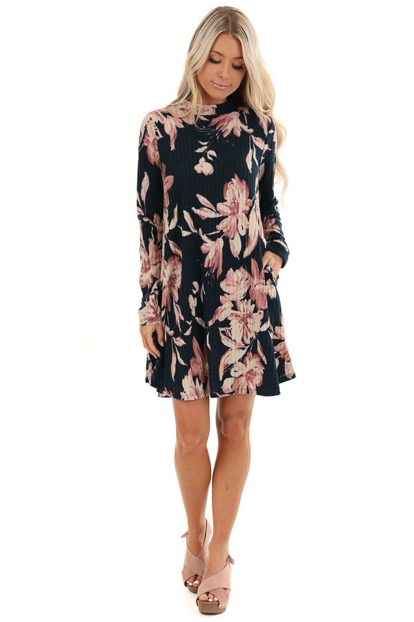 Navy Floral Print Ribbed Mini Dress with Back Cutout front full body