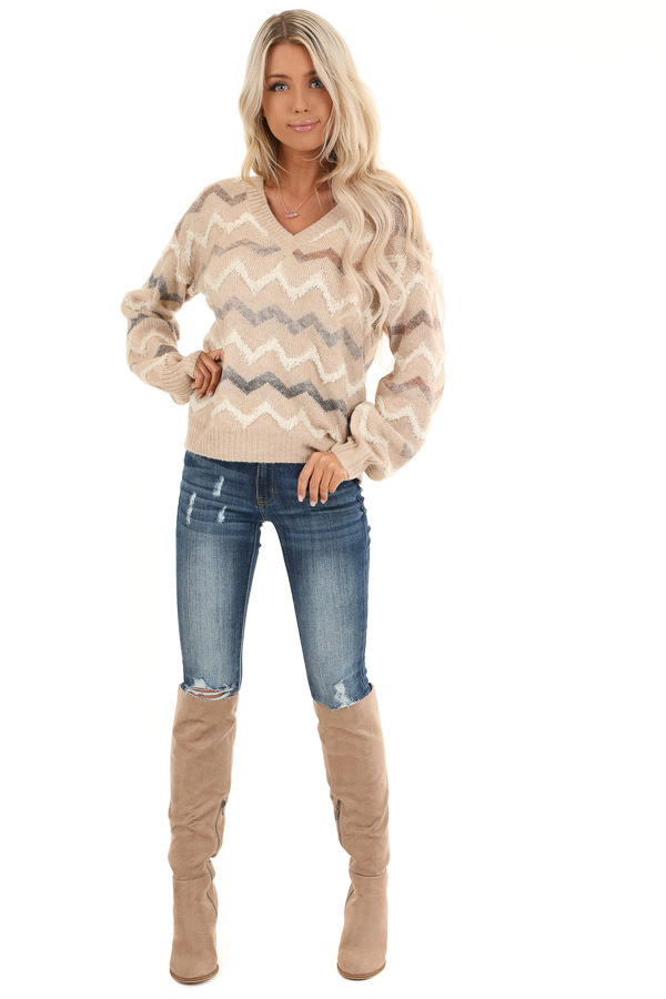 Taupe Chevron Print Soft V Neck Knit Sweater front full body