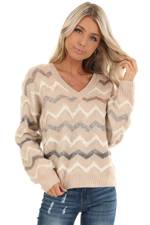 Taupe Chevron Print Soft V Neck Knit Sweater front close up