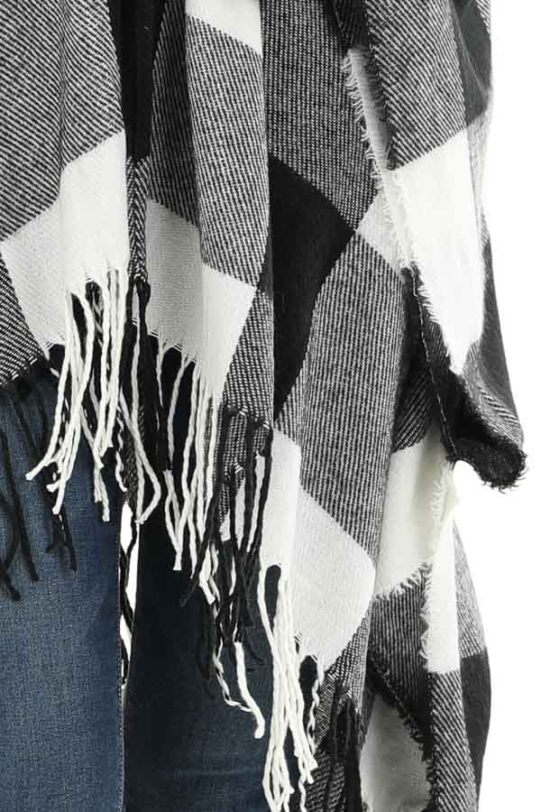 Black and Ivory Buffalo Plaid Open Front Oversized Cardigan detail
