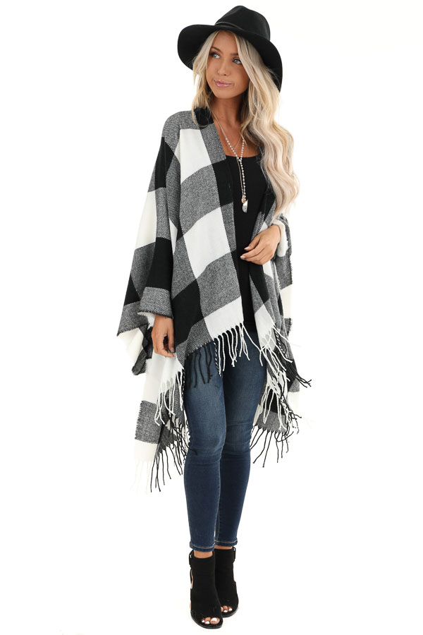 Black and Ivory Buffalo Plaid Open Front Oversized Cardigan front full body