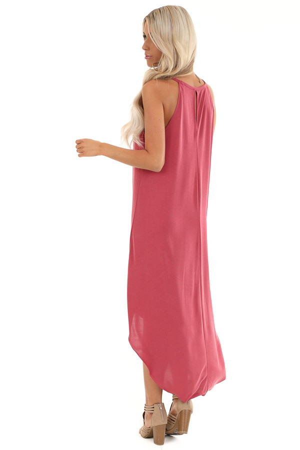 Raspberry Maxi Tank Dress with Rounded Hemline back full body