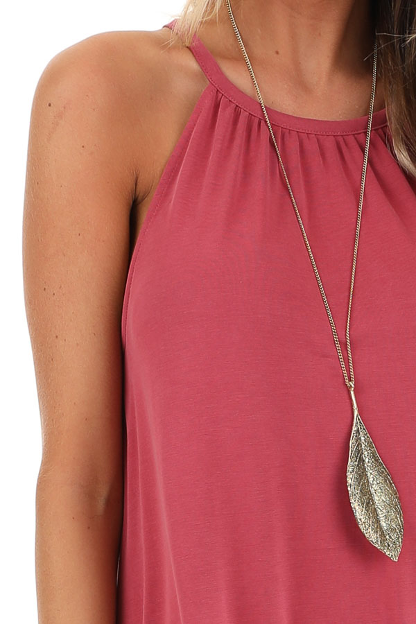Raspberry Maxi Tank Dress with Rounded Hemline detail