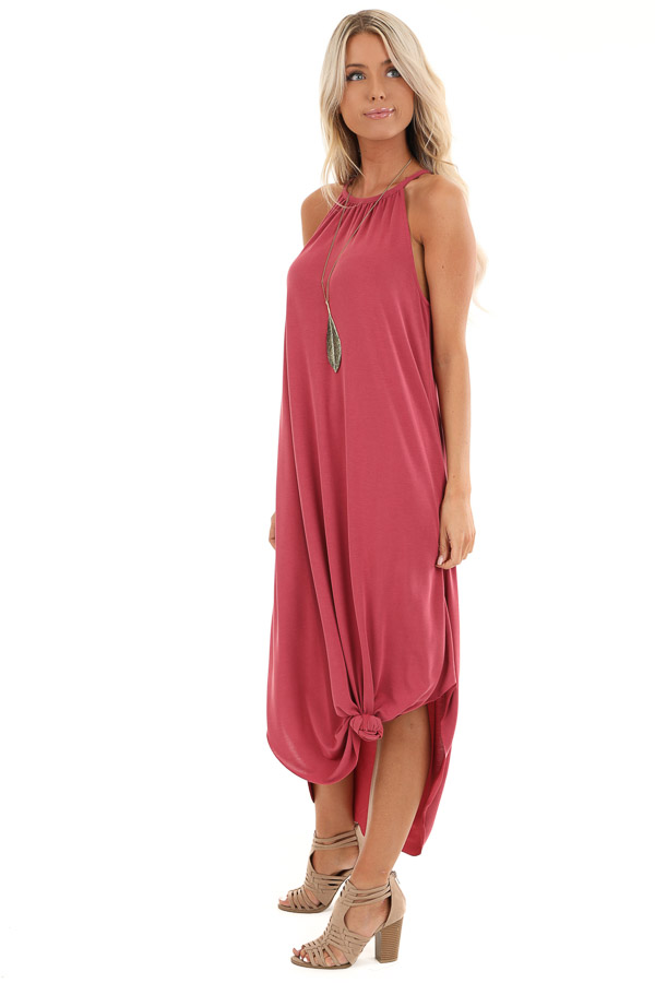 Raspberry Maxi Tank Dress with Rounded Hemline side full body