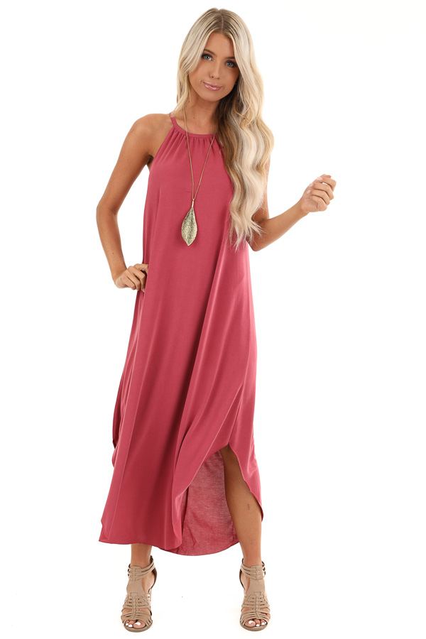 Raspberry Maxi Tank Dress with Rounded Hemline front full body