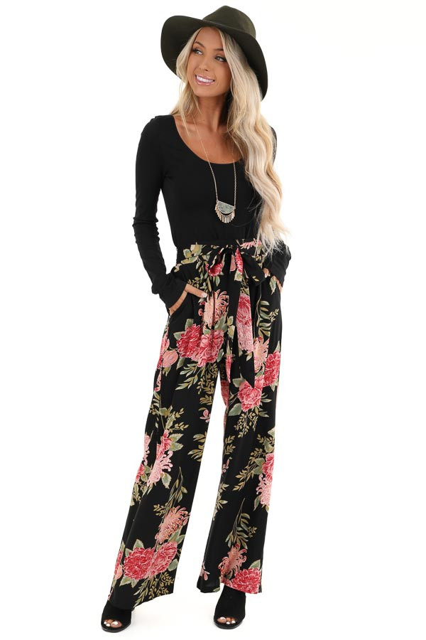 Black and Blush Floral Print Wide Leg Pants with Waist Tie front full body