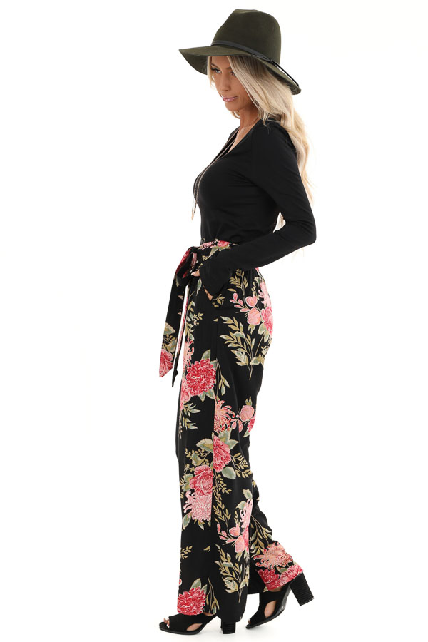 Black and Blush Floral Print Wide Leg Pants with Waist Tie side full body
