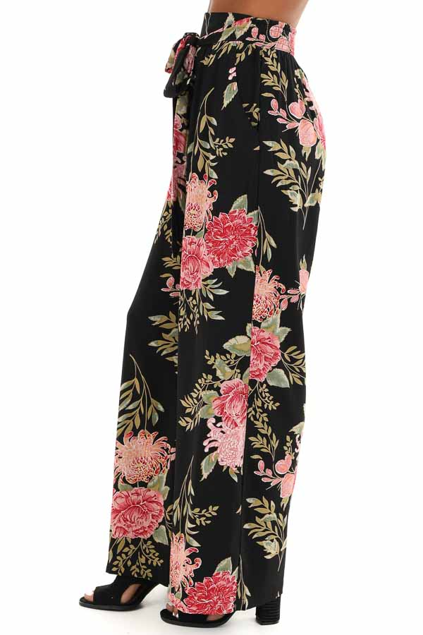 Black and Blush Floral Print Wide Leg Pants with Waist Tie side view