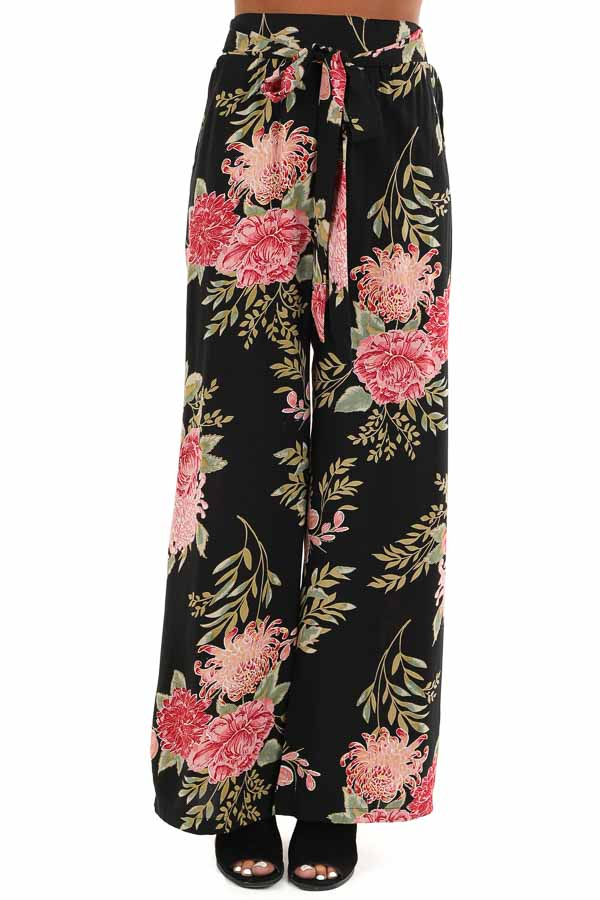 Black and Blush Floral Print Wide Leg Pants with Waist Tie front view