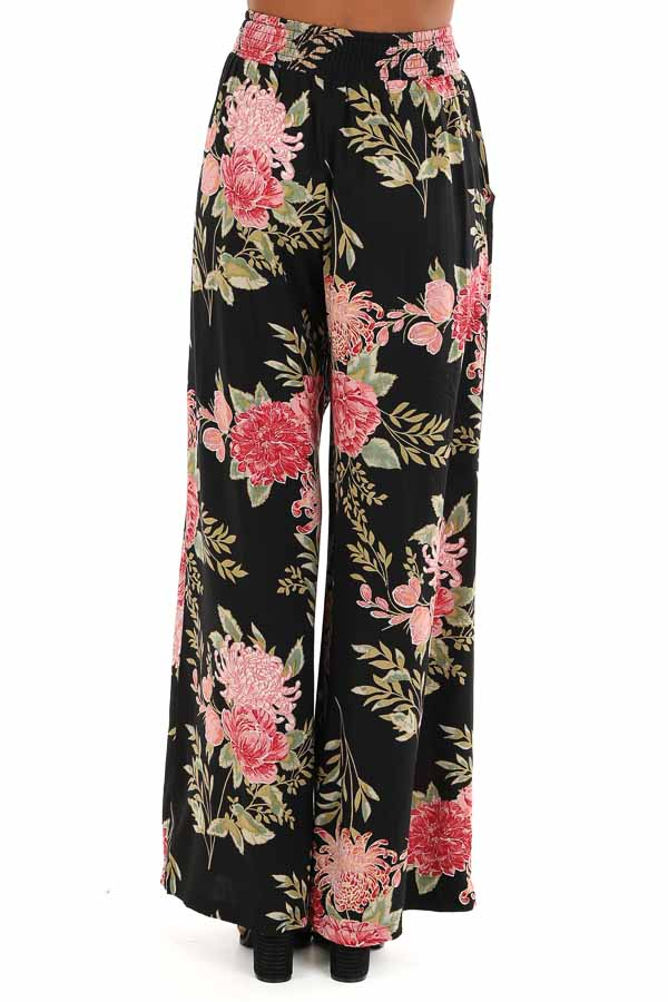 Black and Blush Floral Print Wide Leg Pants with Waist Tie back view