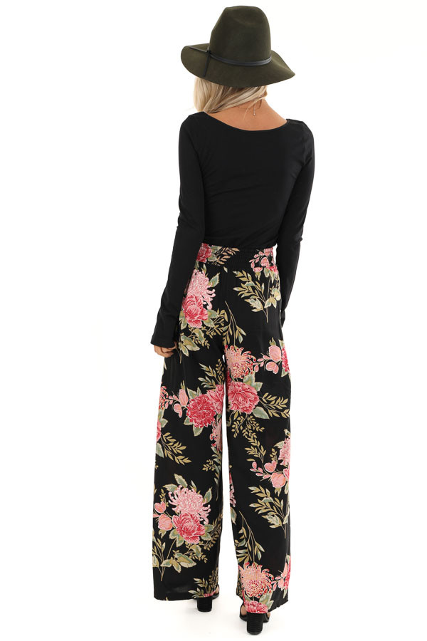 Black and Blush Floral Print Wide Leg Pants with Waist Tie back full body