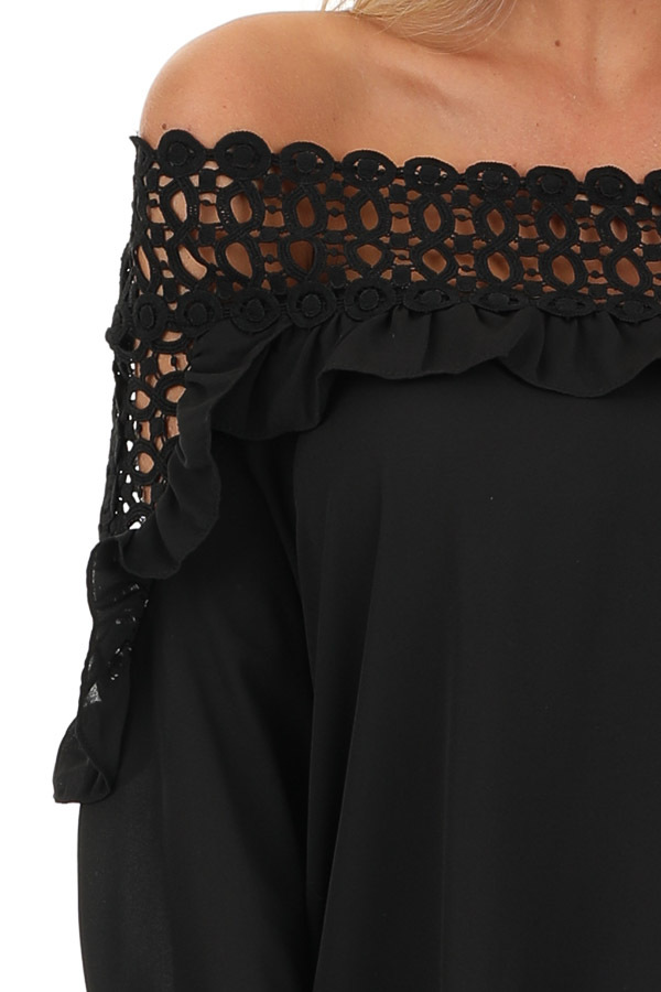 Raven Black Off Shoulder Top with Ruffle and Lace Details detail
