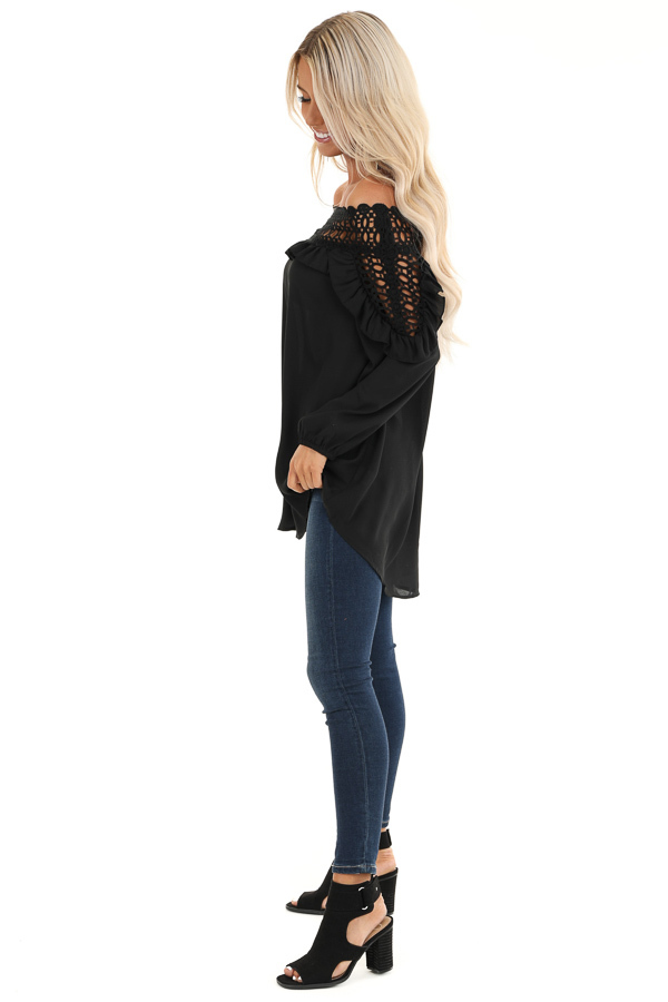 Raven Black Off Shoulder Top with Ruffle and Lace Details side full body