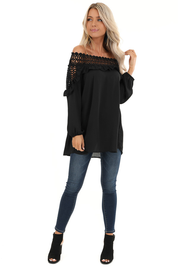 Raven Black Off Shoulder Top with Ruffle and Lace Details front full body