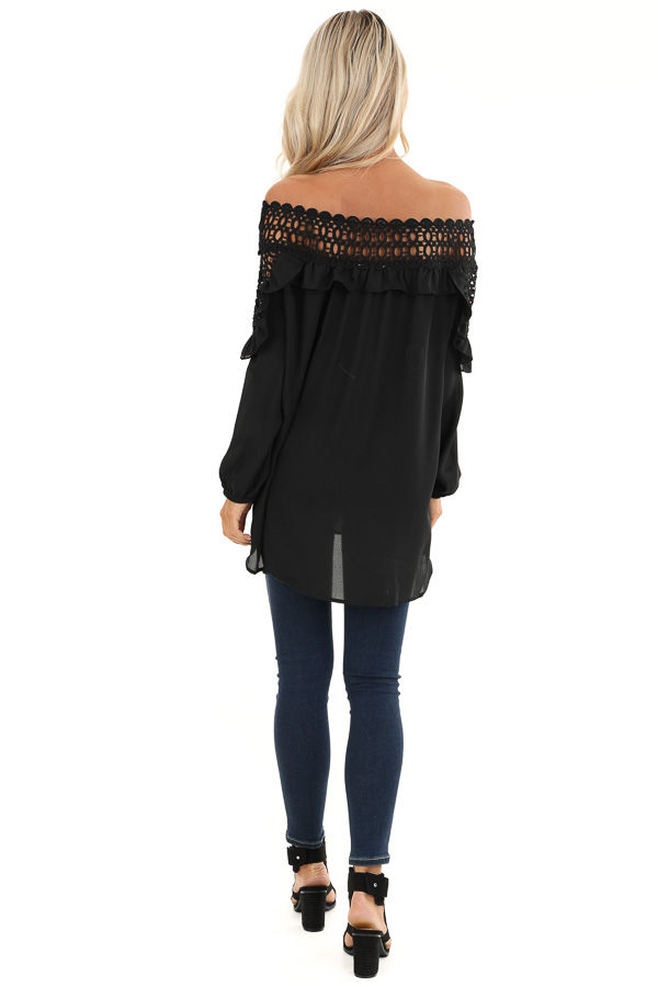 Raven Black Off Shoulder Top with Ruffle and Lace Details back full body