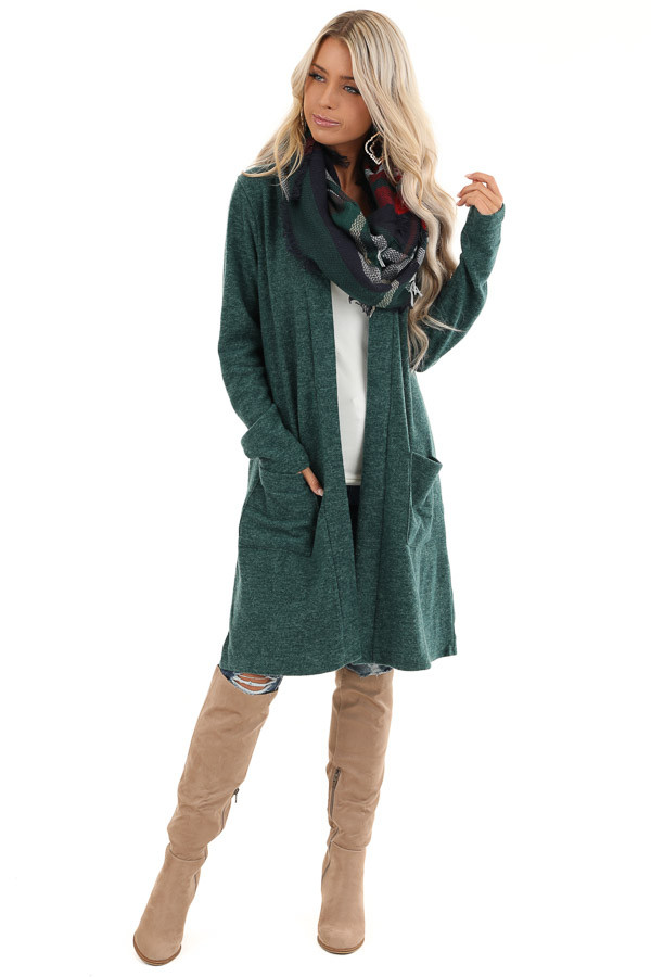 Hunter Green Super Soft Knit Cardigan with Pockets front full body