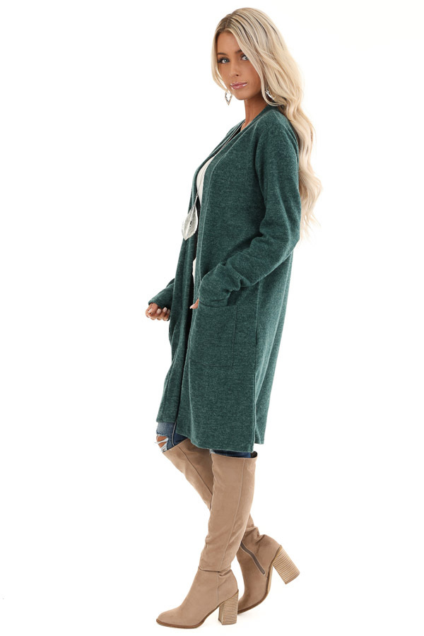 Hunter Green Super Soft Knit Cardigan with Pockets side full body