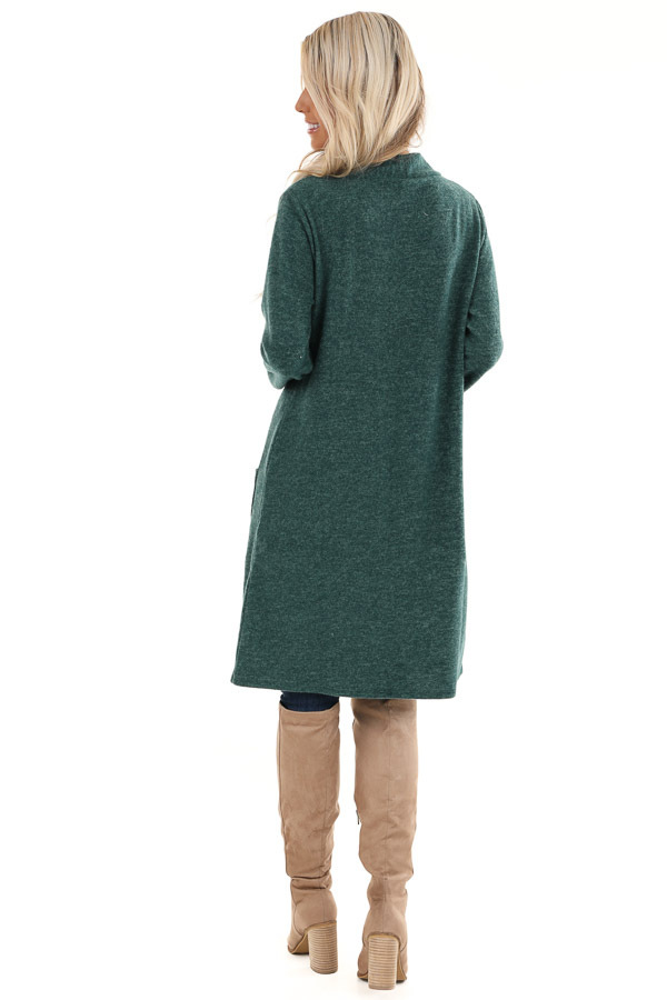 Hunter Green Super Soft Knit Cardigan with Pockets back full body