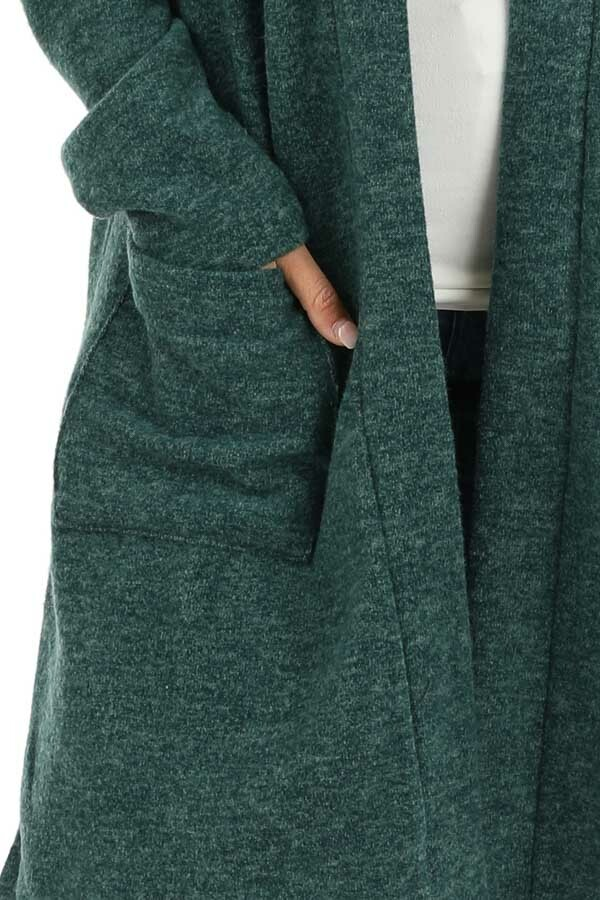 Hunter Green Super Soft Knit Cardigan with Pockets detail