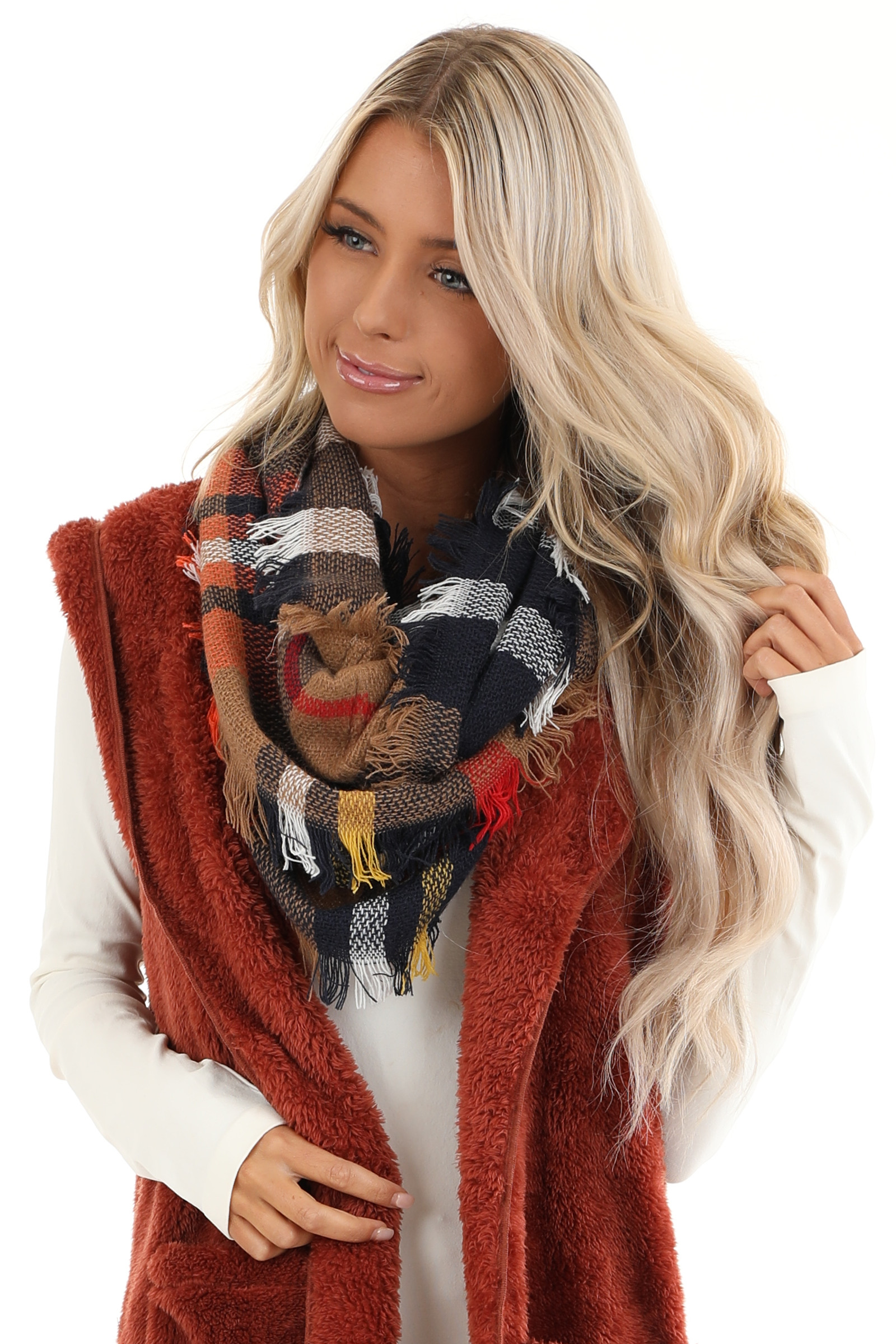 Coffee and Navy Blue Plaid Scarf with Fringe Detail