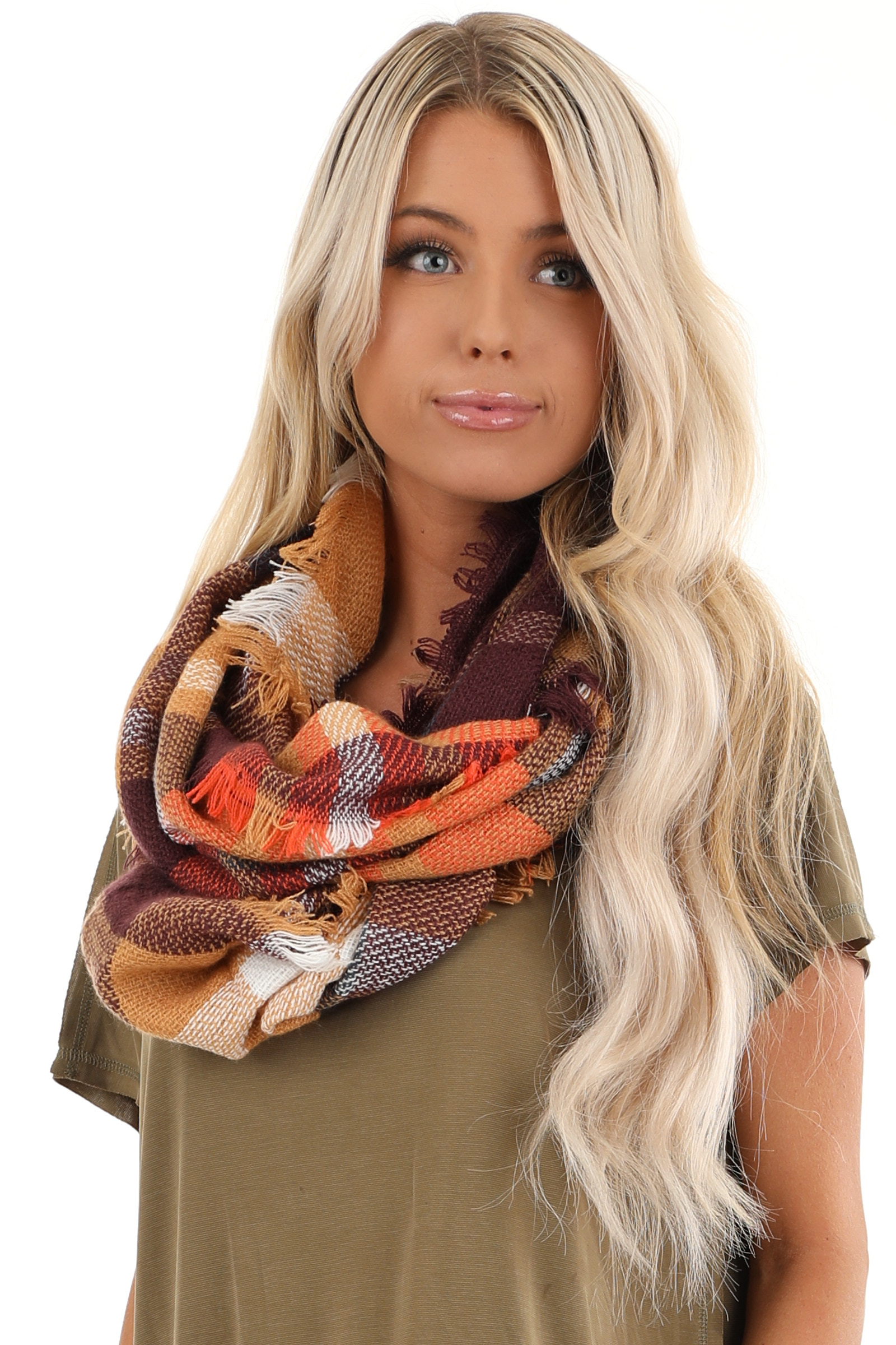 Butterscotch and Maroon Plaid Scarf with Fringe Detail
